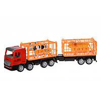 Спецтехника Same Toy инерционный Super Combination Красный для перевозки животных (98-91Ut-1)