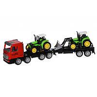 Спецтехника Same Toy инерционный Super Combination Тягач красный с трактором и бу (98-90Ut-1)