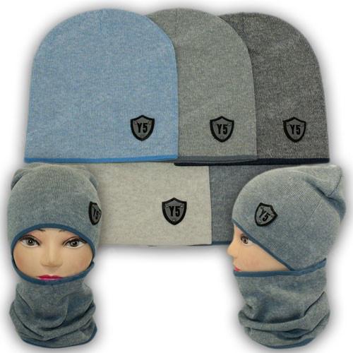 Комплект шапка и шарф хомут для мальчика, р. 50-52