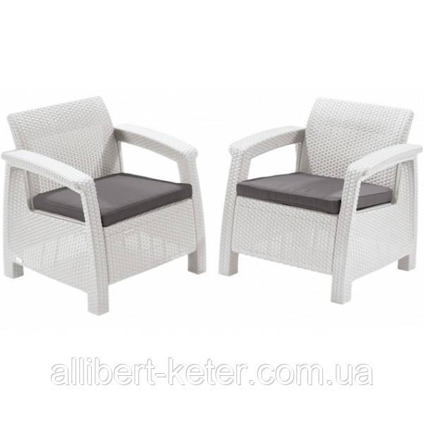 Два комфортних крісла зі штучного ротангу CORFU DUO SET білий (Allibert)