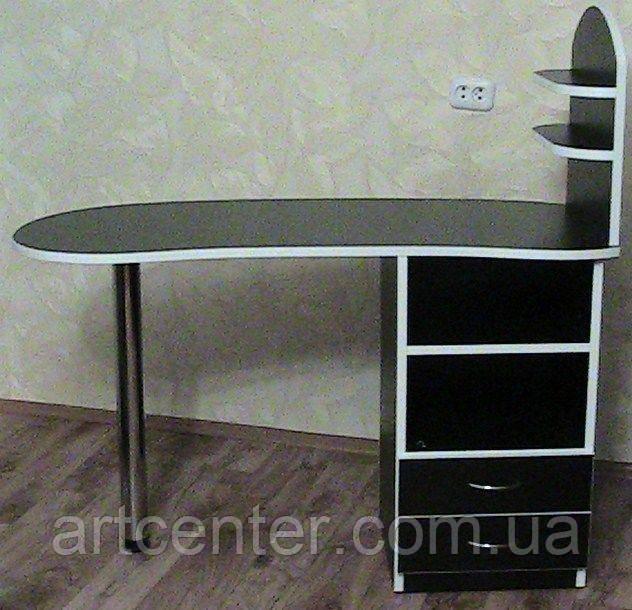 Стіл для манікюру, манікюрний стіл з поличками під лак