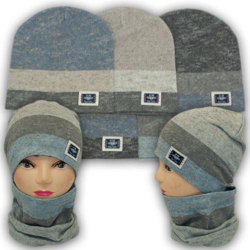 Комплект шапка и шарф хомут для мальчика