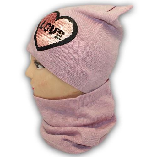 Вязанная шапка с ушками и хомутом  для девочек