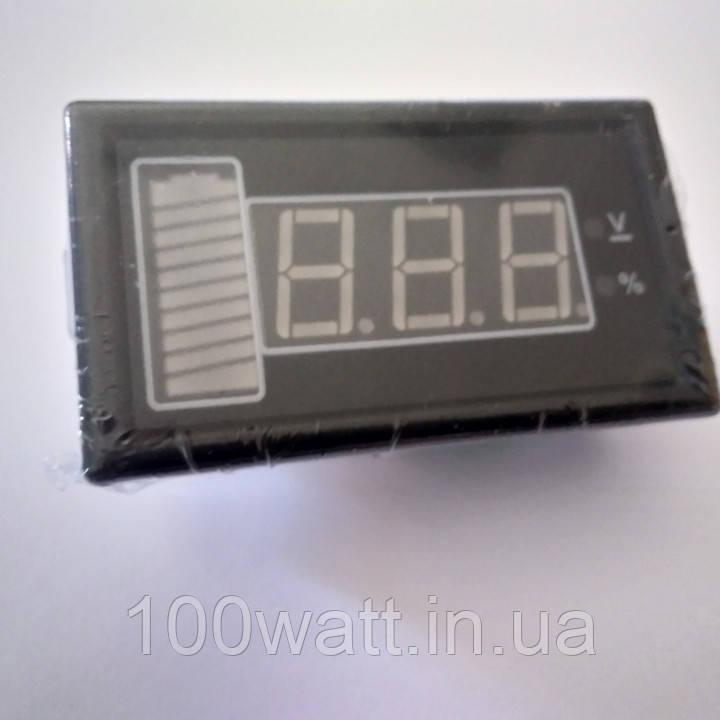 Вольтметр щитовой 12V (8-16v) DC со шкалой разряда в% ST534