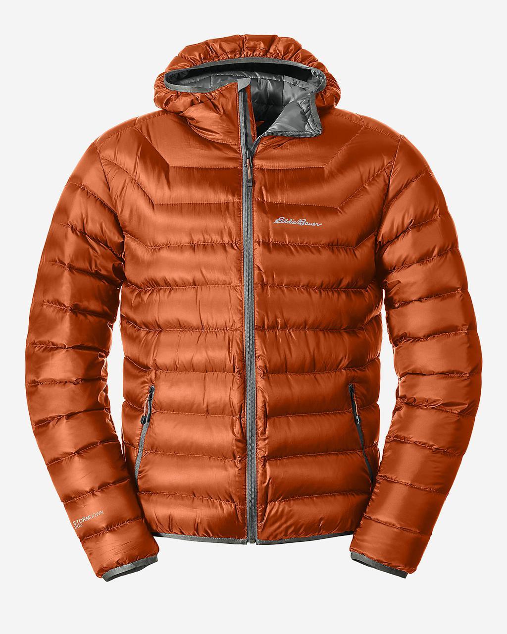 Куртка Eddie Bauer Mens Downlight StormDown Hooded LONG Orange