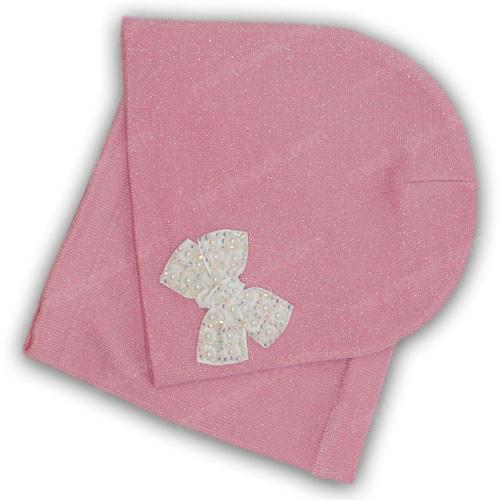 Вязанная шапка c хомутом  для девочек