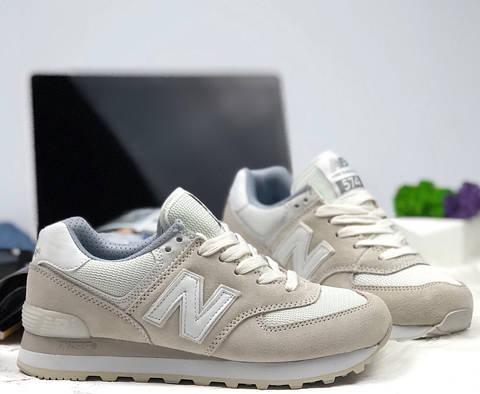 Кроссовки New Balance 574 light gray white. Живое фото (Реплика ААА ... d5be86d013e66