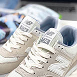Кросівки New Balance 574 light gray white. Живе фото (Репліка ААА+), фото 7