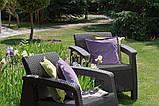 Два комфортних крісла зі штучного ротангу CORFU DUO SET графіт (Allibert), фото 4