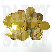 Конфетти кружочки золото 35 мм, 50 г