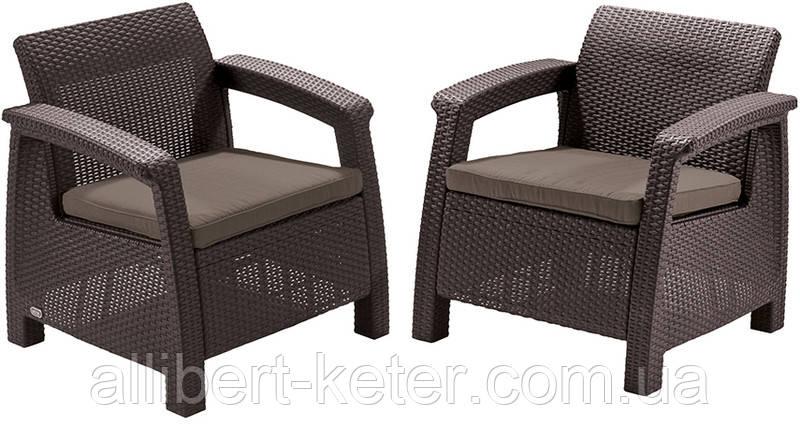 Два комфортних крісла зі штучного ротангу CORFU DUO SET темно-коричневий (Allibert)