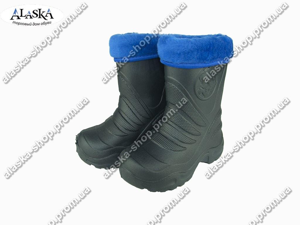 Детские сапоги (Код: Детск ЭВА-4мех темн.синий )
