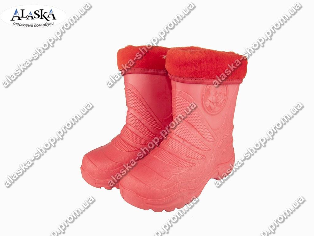 Детские сапоги (Код: Детск ЭВА-4мех красный )