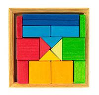 Конструктор nic деревянный Разноцветный квадрат, NIC523343