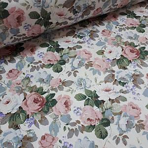 Хлопковая ткань САТИН крупные розы на белом (КОРЕЯ)