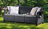 Тримісна софа зі штучного ротангу CORFU LOVE SEAT MAX графіт ( Allibert ), фото 2