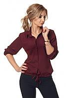 Женская блузка с рукавом 3/4 с жемчугом 42-52 размера марсаловая, фото 1