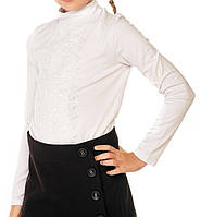Школьная блуза с кружевом для девочки. Блуза школьная трикотажная.  Подростковая блуза для школы 523d2dbd3e859