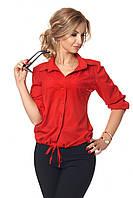 Женская блузка с рукавом 3/4 с жемчугом 42-52 размера красная, фото 1