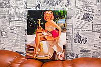 Картина в стиле Pin-ap. Девушка на машине. 20х25 см. Картина на холсте.