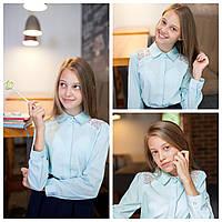 Блузка школьная нарядная мятный цвет