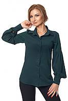 Классическая блуза с пышным рукавом с жемчугом 42-52 размера бутылочная, фото 1