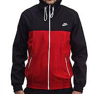 Куртка виндранер для мальчиков Nike черно-красная (реплика)