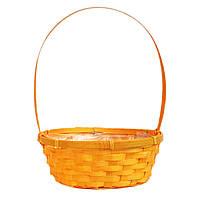 Корзина для цветов из лозы оранжевая 30 х 25 см