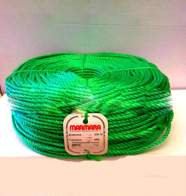 """Мотузка кручена, діаметр 3.5 мм/200м. Поліпропіленова """"Marmara"""" (Туреччина)."""