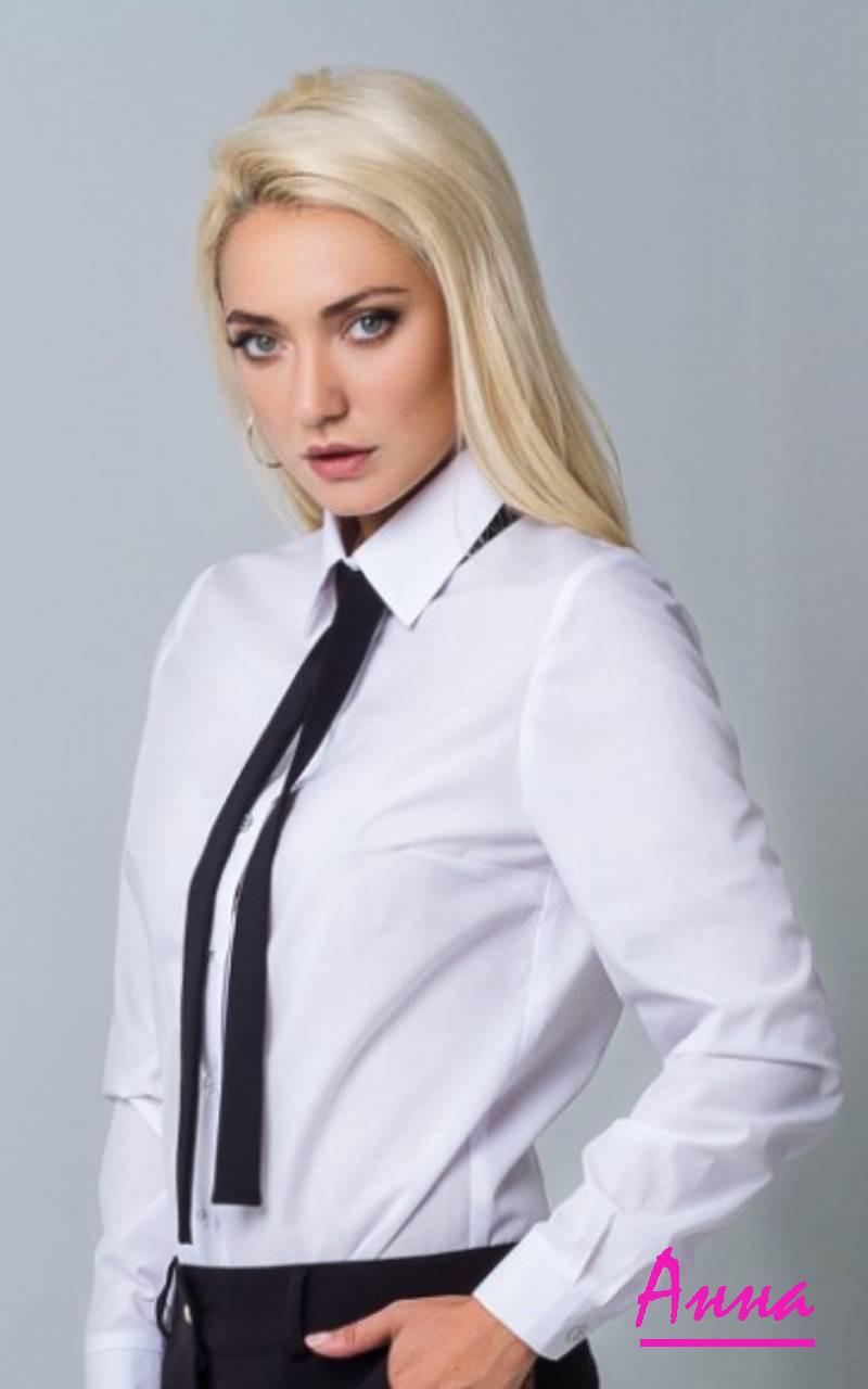 Женская классическая рубашка с галстуком 6413188