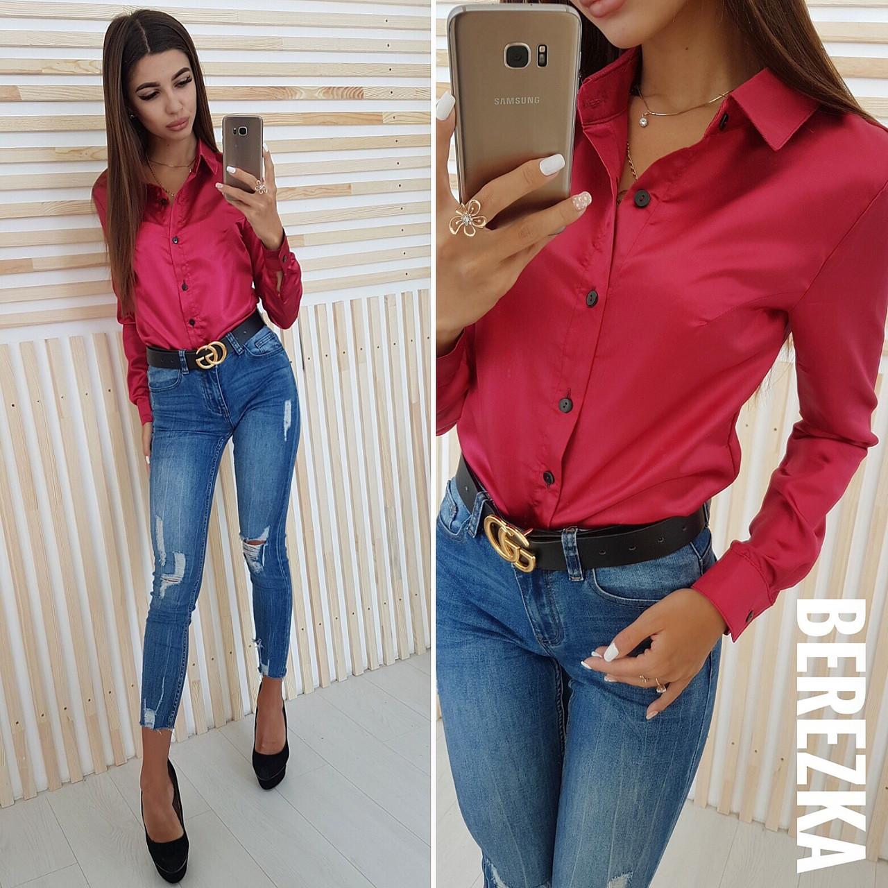 65252b5e90be9e3 Купить Женскую атласную рубашку в расцветках 6613193 недорого в ...