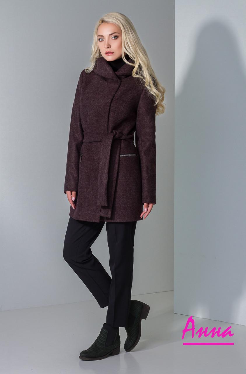 Полушерстяное женское пальто с капюшоном и под пояс 640285