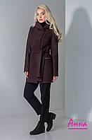 Полушерстяное женское пальто с капюшоном и под пояс 640285, фото 1