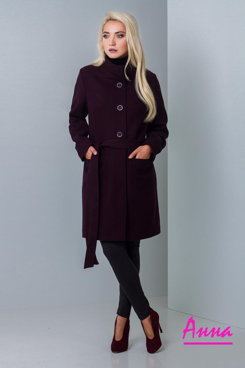 Демисезонное женское пальто из полушерсти под пояс 640288