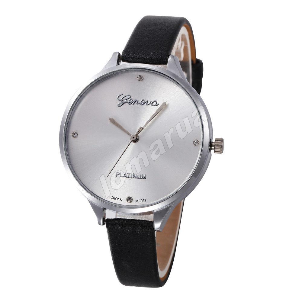 Женские кварцевые часы Geneva Platinum Черный ремешок