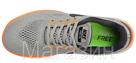 Мужские кроссовки Nike Free Run Flyknit Grey Найк Фри Ран Флайнит серые, фото 2