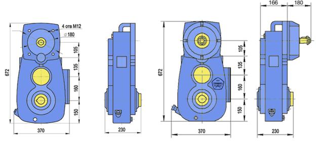 Габаритные размеры редуктора А-400 чертеж