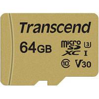 Карта памяти Transcend 64GB microSDHC class 10 UHS-I U3 V30 (TS64GUSD500S)