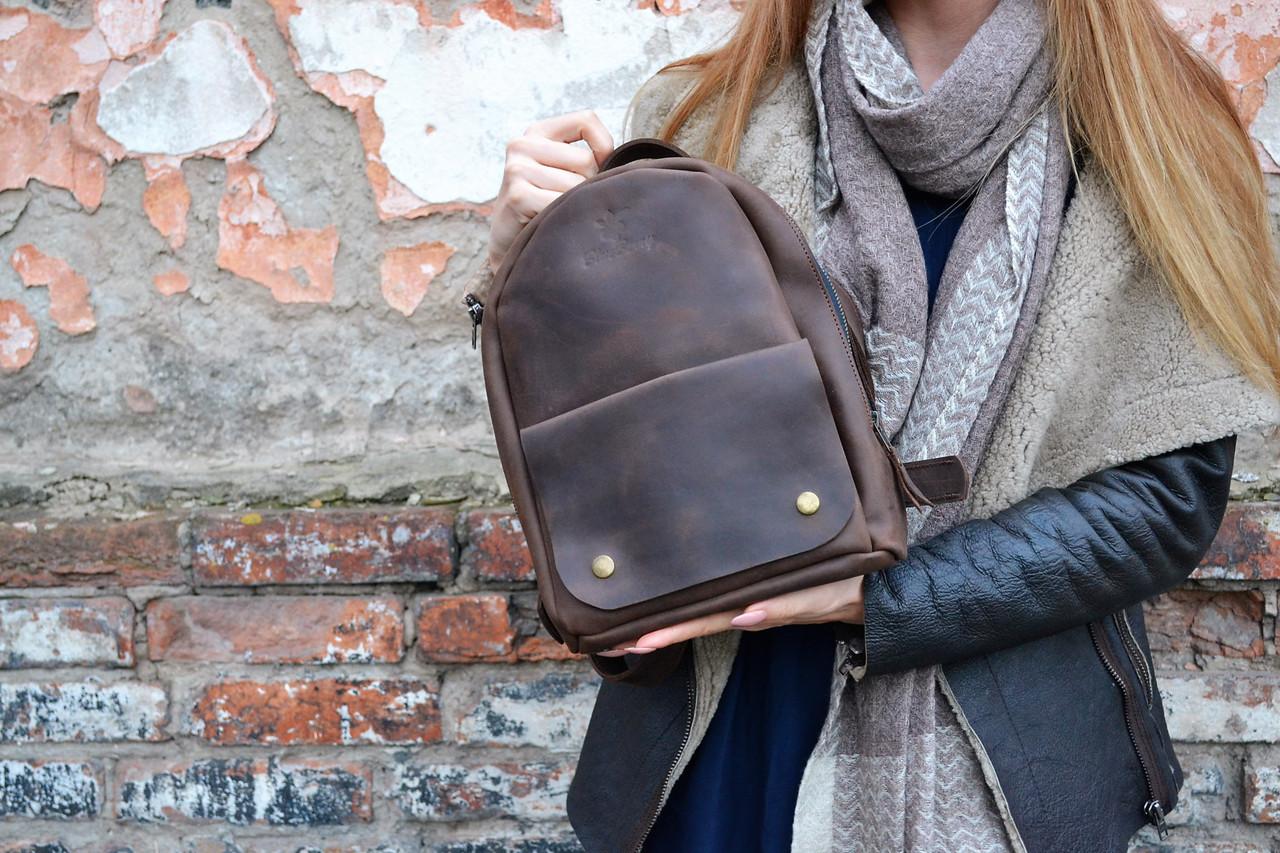 054930b30b2a Кожаный рюкзак, ручной работы, рюкзак из кожи Крейзи Хорс, OvalPack городской  рюкзак,