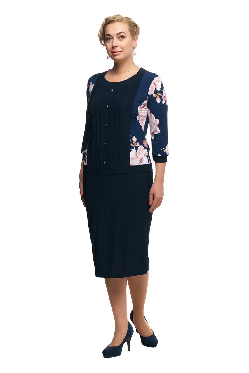 Женское повседневное платье большого размера 1705010/2 Бежево розовые цветы