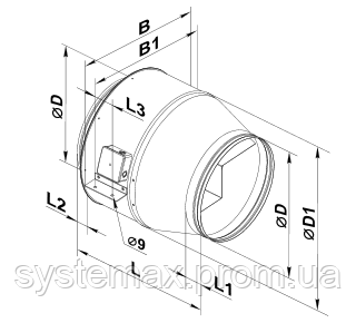 Габаритные размеры Вентс ВКМ, Vents VKM (канальный круглый центробежный вентилятор)