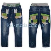 Джинсы на резинке с карманами-заплатками для мальчика