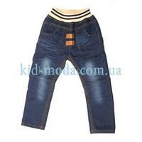 Джинсы на резинке с контрастными карманами для мальчика