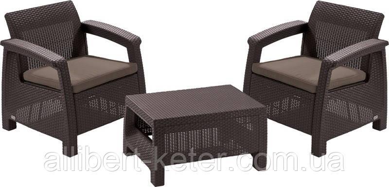 Два комфортних крісла з м'якими подушками та столик CORFU WEEKEND темно-коричневий (Allibert)