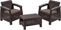 Два комфортних крісла з м'якими подушками та столик CORFU WEEKEND темно-коричневий (Allibert), фото 1