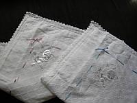 Крыжма- плед для новорожденного ажурный белый