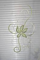Тюль шифон весенний цветок Салатовый с Ламбрикеном, фото 1