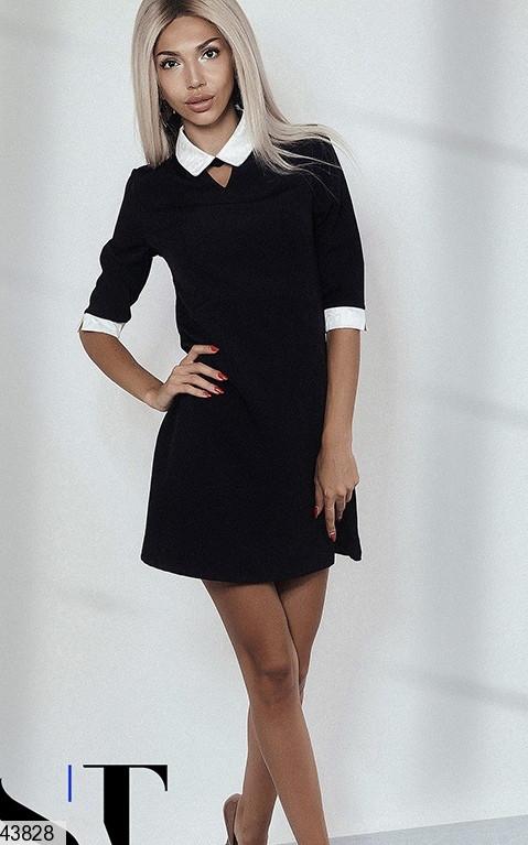 Строгое осеннее платье выше колен полуоблегающее рукав три четверти черное
