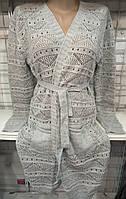 Кардиган с поясом женский (акрил/ шерсть)