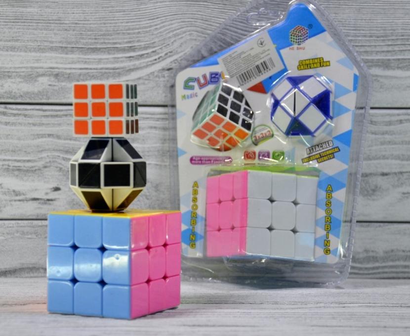 Набор кубик - рубика 3 в 1 большой и маленький кубик + логическая змей